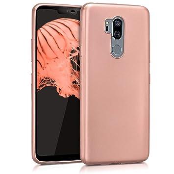 kwmobile Funda para LG G7 ThinQ/Fit/One - Carcasa para móvil en TPU Silicona - Protector Trasero en Oro Rosa Metalizado