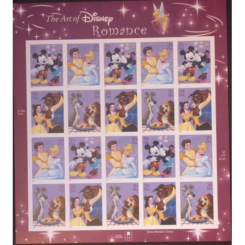 Art of Disney: Romance, Full Sheet of 20 x 39-Cent Stamps, USA 2006, Scott 4025-28 -