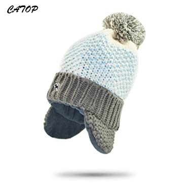 150ba6c31dd CATOP Baby Beanie Children Kids Toddler Cotton Soft Cute Lovely Knit Beanie  Hat Cap Lined Plush Winter Warm Hat with Earflap  Amazon.co.uk  Clothing