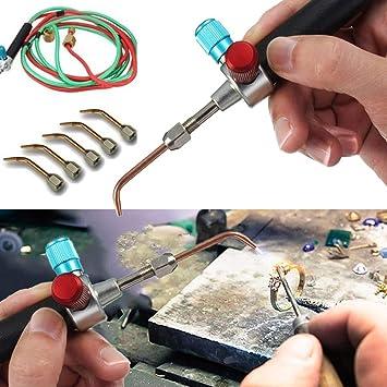 Kefaith Kit de Pistola de Soldadura Micro Mini Gas Little Torch para soldar con 5 Puntas para Cilindros de oxígeno Herramienta Practica: Amazon.es: Hogar