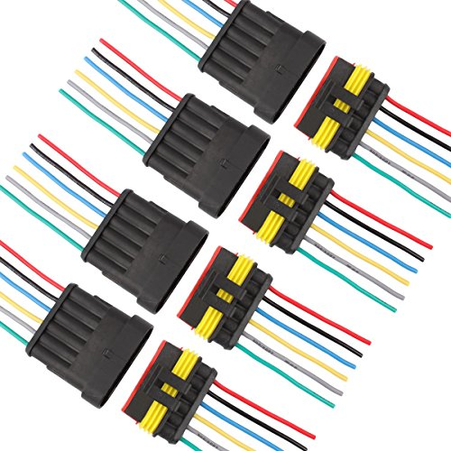 (TOMALL 6 Pin Way 18 AWG Waterproof Connector for Electrical Quick Plug socket 6 Wire Pigtail 1.5mm Series (Pack of 4))