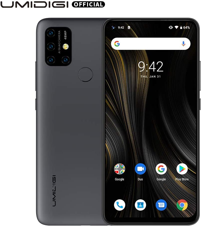 "UMIDIGI Power 3 6150mAh Monster Battery Unlock Cell Phone, 48MP Ultra Wide Macro Quad Camera, 6.53"" FHD+ Android 10 Mobile 4G+64GB Phone 2 + 1 Card Slots, 18W Fast Charging(Support Reverse),Grey"