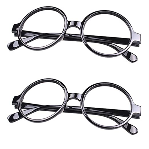 5c8e7eebec2 FancyG Retro Geek Nerd Style Round Shape Glass Frame NO LENSES Costume  Eyewear 2 Pieces Set