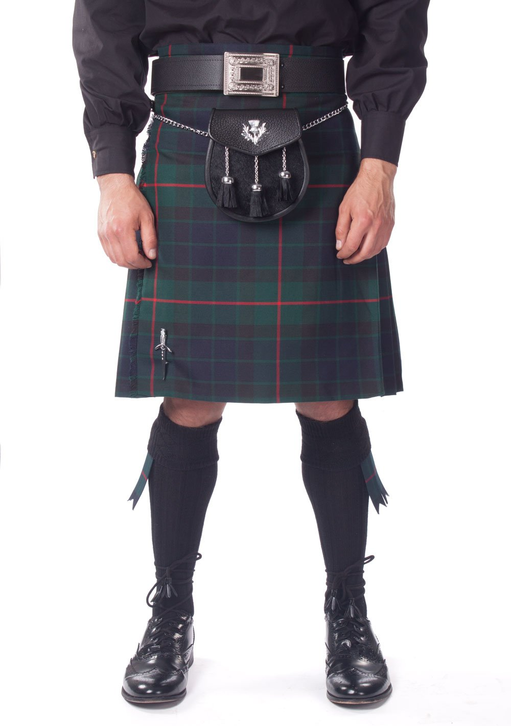 Kilt Society Mens 7 Piece Semi Dress Kilt Outfit- Gunn Tartan with Black Hose 42'' to 46''