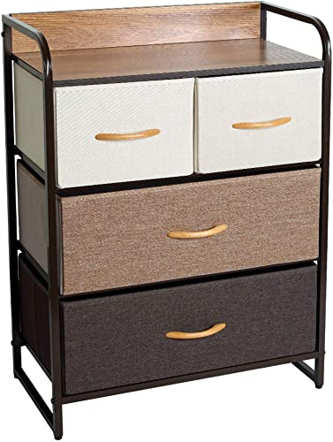 Okeysen 4 Drawers Home Dresser, Fabric Storage Organizer Unit, Wood Top Chest Tower,Easy Pull Bins for Bedroom,LivingRoom,Hallway, Nursery Room 23×11.5×31
