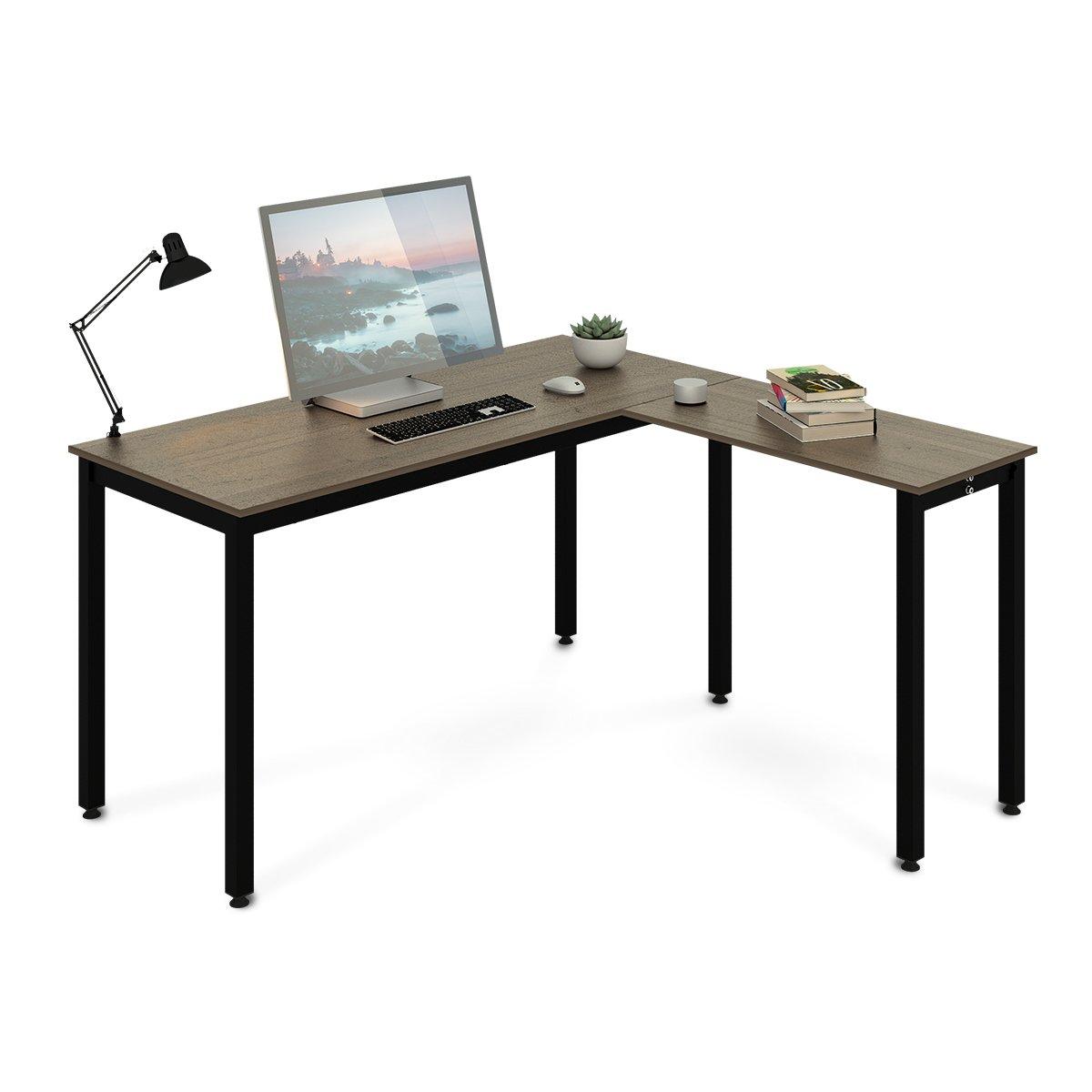 DEVAISE L-Shaped Computer Desk, Corner PC Laptop Workstation
