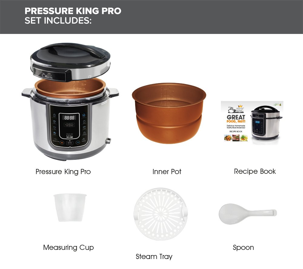 Pressure King Pro 5 Litre 12 In 1 Digital Electric Pressure Cooker, 900 W,  Chrome: Amazon.co.uk: Kitchen U0026 Home