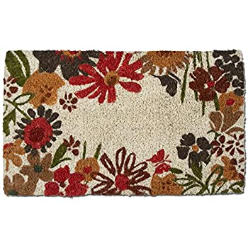 tag - Field Flowers Coir Mat, Decorative All-Season Mat for the Front Porch, Patio or Entryway, Multi Harvest