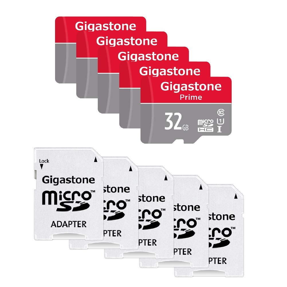 Gigastone Micro SD Card 32GB 5-Pack MicroSD HC U1 C10 with Mini Case and SD Adapter High Speed Memory Card Class 10 UHS-I Full HD Video Nintendo Dashcam Gopro Camera Samsung Canon Nikon DJI Drone by Gigastone