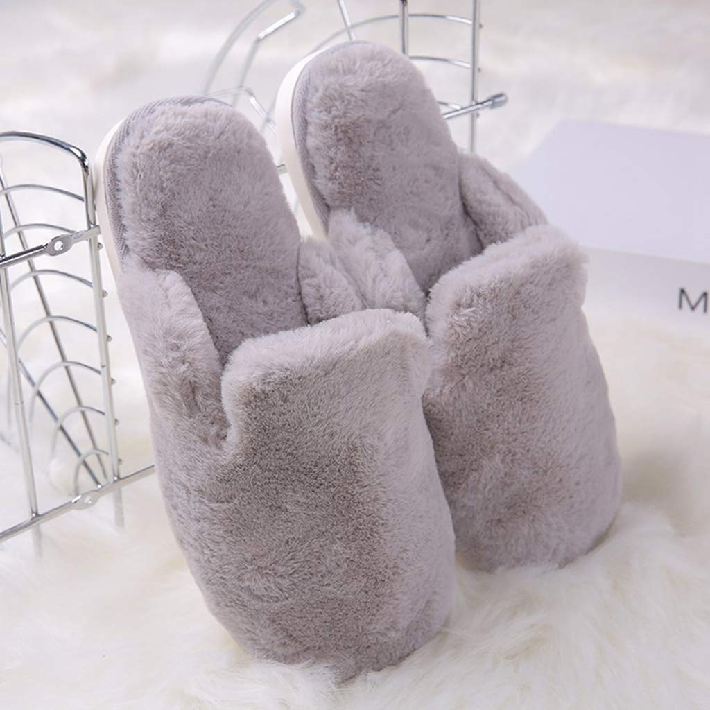 Eforstore Winter Fashion Warm Slippers Soft Anti-Slip Plush Shoes Couple Slippers Women Men Cotton Slippers