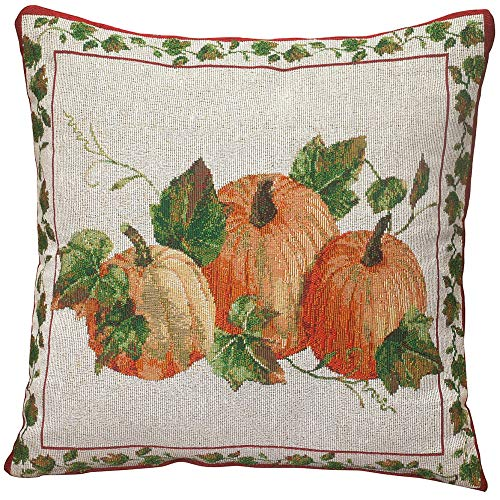 MS HOME Needlepoint 3-Halloween Pumpkin Patterned Multi-Color Pillow Cover w/Zipper, 18