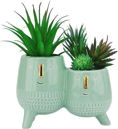 For Women Decorative Flowerpots Mini Desktop Planter For Succulents Cactus Indoor Plants And Dry Flowers crazerop 3PCS Cute Girl Face Flower Pots Ceramic Succulent Planter Funny Vase