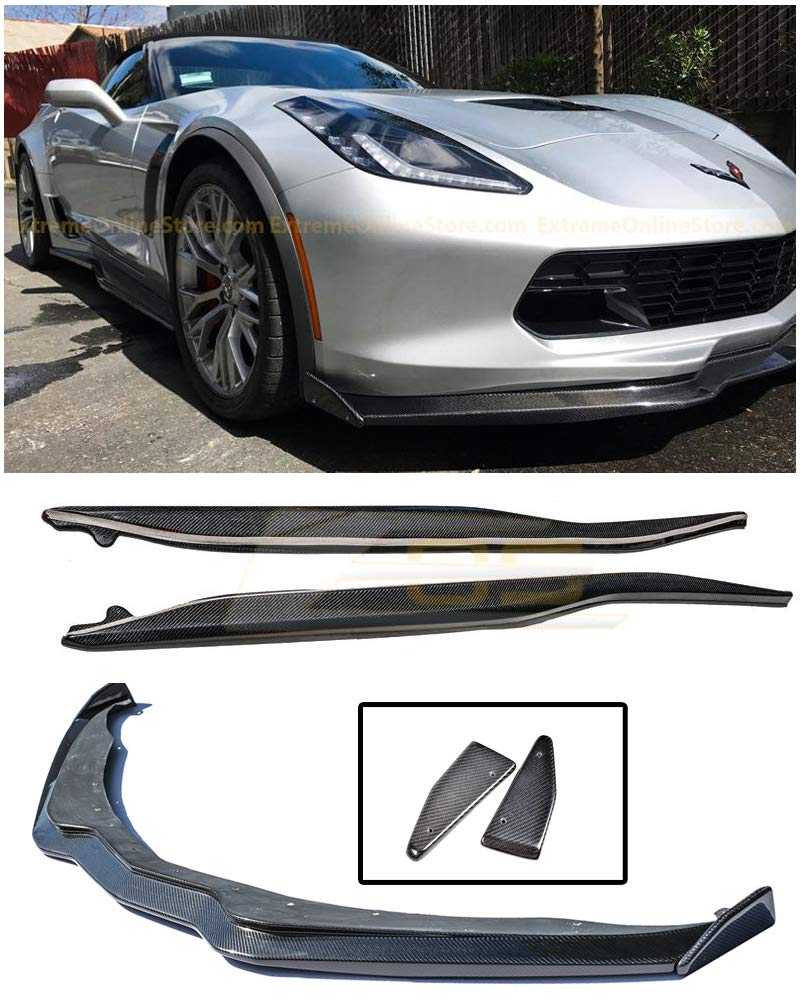 For 2014-Present Corvette C7 | EOS Z06 Performance Stage 2 Style CARBON FIBER Front Bumper Lower Lip Splitter W/Side End Caps & Side Skirt Panels Extreme Online Store