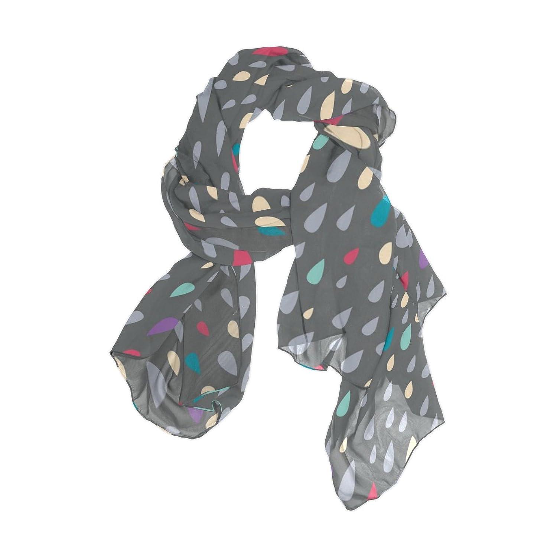 Senya Women's Fashion Large Long Sheer Silk Scarf Shawl Wrap, Colorful Drops