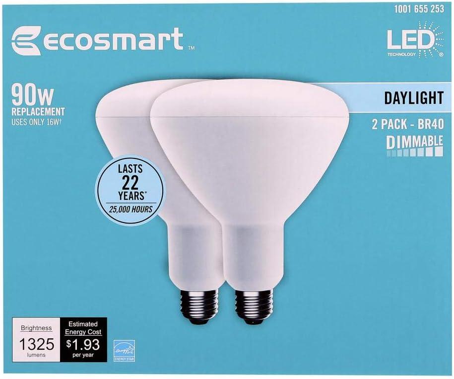 4-Pack EcoSmart 90-Watt Equivalent PAR38 Dimmable Energy Star LED Flood Light Bulb Daylight