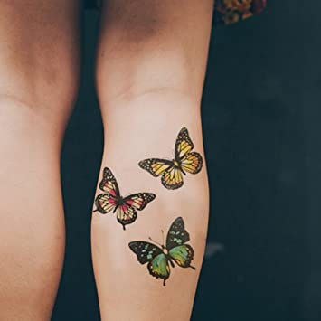 22cc26379 Amazon.com : TAFLY Butterfly Tattoo Decals Body Art Decal Colorful Flying  Butterfly Waterproof Temporary Tattoo 2 Sheets : Beauty
