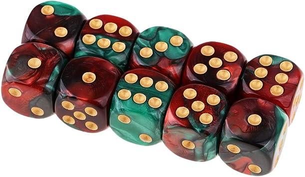 B Blesiya D6 Dados de 6 Caras para Juegos de Mesa Table Games Party (10 Piezas) - Rojo + Verde: Amazon.es: Juguetes y juegos