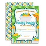 Water Wars Boys Birthday Party Fill in Invitations set of 10 with envelopes by AmandaCreation