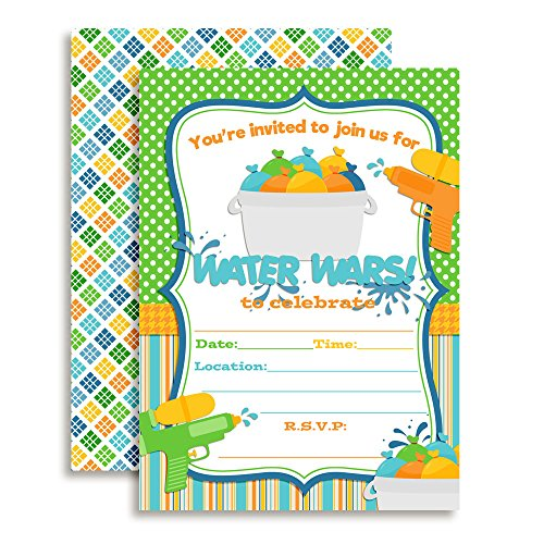 Water Wars Boys Birthday Party Fill in Invitations Set of 20 with envelopes by AmandaCreation ()