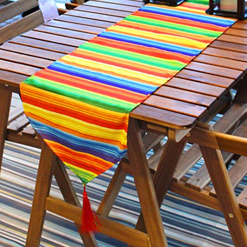 Cinco De Mayo Fiesta Serape Table Runner 84x14-inch Fringe Cotton Handwoven Table Runner for Cinco De Mayo Party Decoration, Mexican Sombrero Taco Party Supplies Décor, Dia De Muertos, Picnics Dining Table.