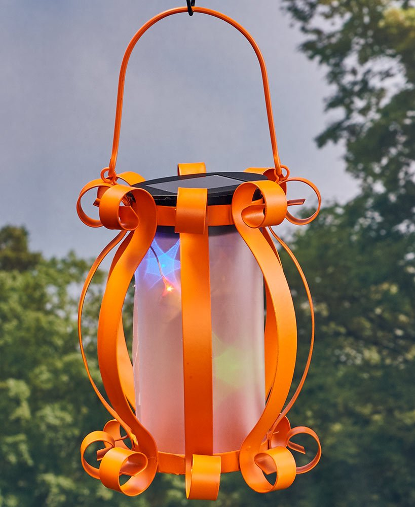 Colorful Solar Scroll Lantern Orange