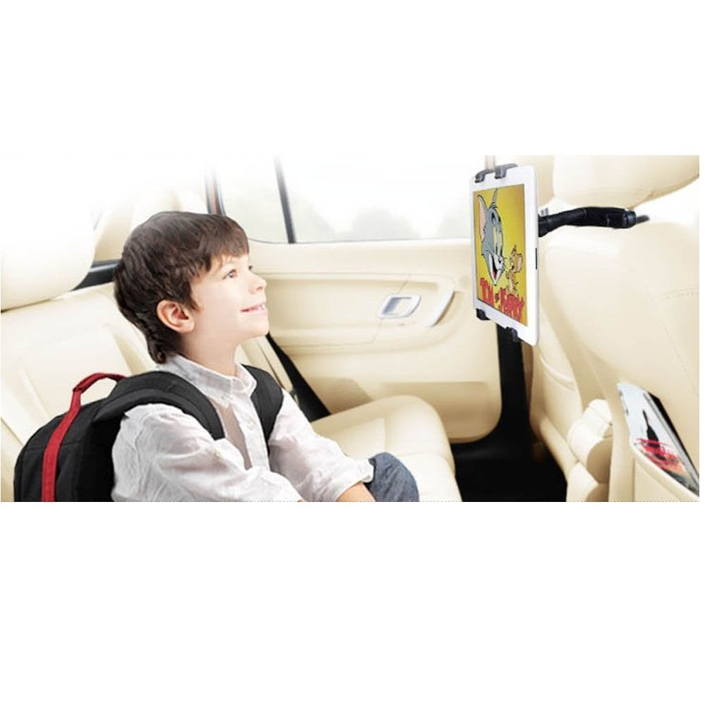 Headrest Mount Car Seat Back Holder with 360 Degree Adjustable Rotating Travel Kit for iPad Air 2, iPad Air, iPad Mini (1, 2, 3), iPad 2/ 3/ 4,Samsung Galaxy, Motorola Xoom and Ohter 7-10.1 Inch Tablets