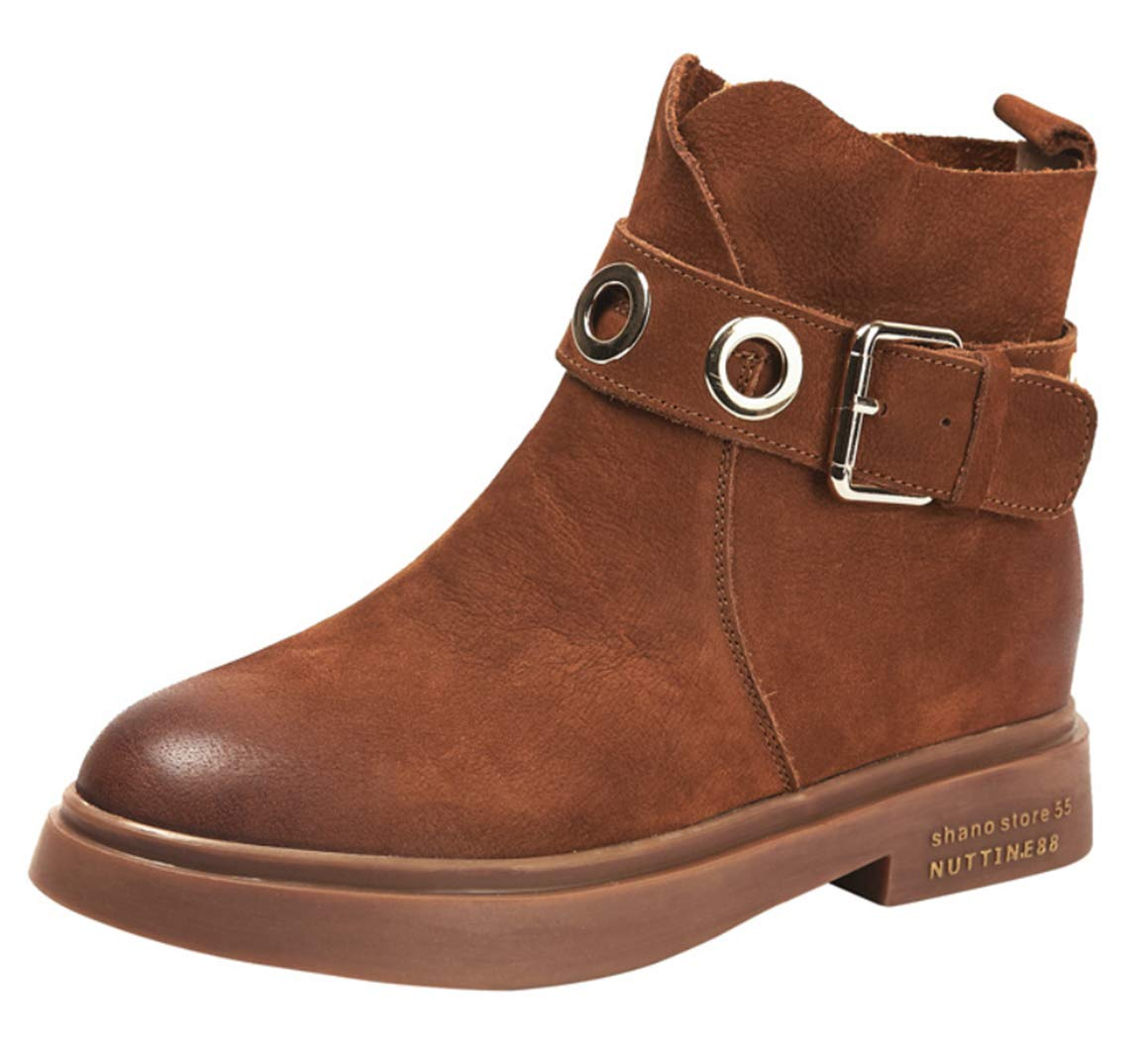 Caramelcolour Women's Martin Boots Female Leather Round Head mid Heel Ankle Boots Side Zipper Metal Buckle Retro Style Thick Heel Boots