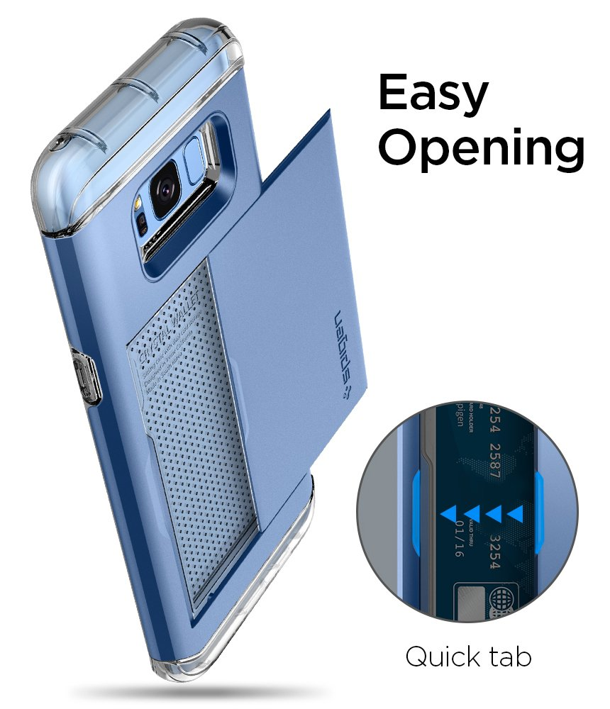 Spigen Crystal Wallet Galaxy S8 Case with Slim Dual Layer Wallet Design and Card Slot Holder for Galaxy S8 (2017) - Coral Blue by Spigen (Image #6)