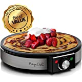 MegaChef Round Stainless Steel Crepe and Pancake Maker Breakfast Griddle, 12 Inch Diameter, Black and Silver Chrome