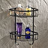 Wall Mounted 2 Tiers Dual Corner Shower Caddies Storage Tub and Shower Soap Wire Basket Cosmetic Holder Towel Robe Bar Rack Holder Triangle Orgnizer Bathroom Accessories Made of Solid Brass (oil rubbed bronze Finish)