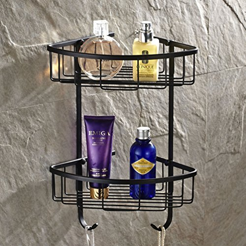 Mounted Tub Bar - Wall Mounted 2 Tiers Dual Corner Shower Caddies Storage Tub and Shower Soap Wire Basket Cosmetic Holder Towel Robe Bar Rack Holder Triangle Orgnizer Bathroom Accessories Made of Solid Brass (oil rubbed bronze Finish)