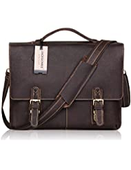 Jack&Chris NEW ARRIVAL Leather Briefcase Twin Buckle Mens Messenger Bag, Dark Brown, MB002B