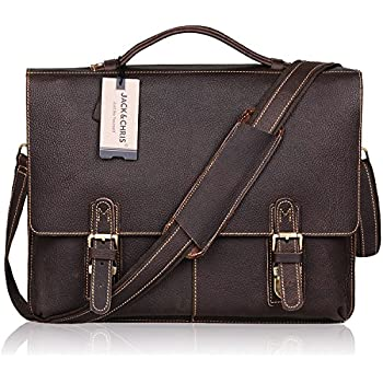 Amazon.com: Jack&Chris®Leather Men's Brown Business Bag Messenger ...