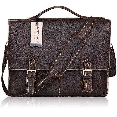 Jack&Chris NEW ARRIVAL Leather Briefcase Twin Buckle Men's Messenger Bag, Dark Brown, MB002B (Dark Brown Leather Buckle)