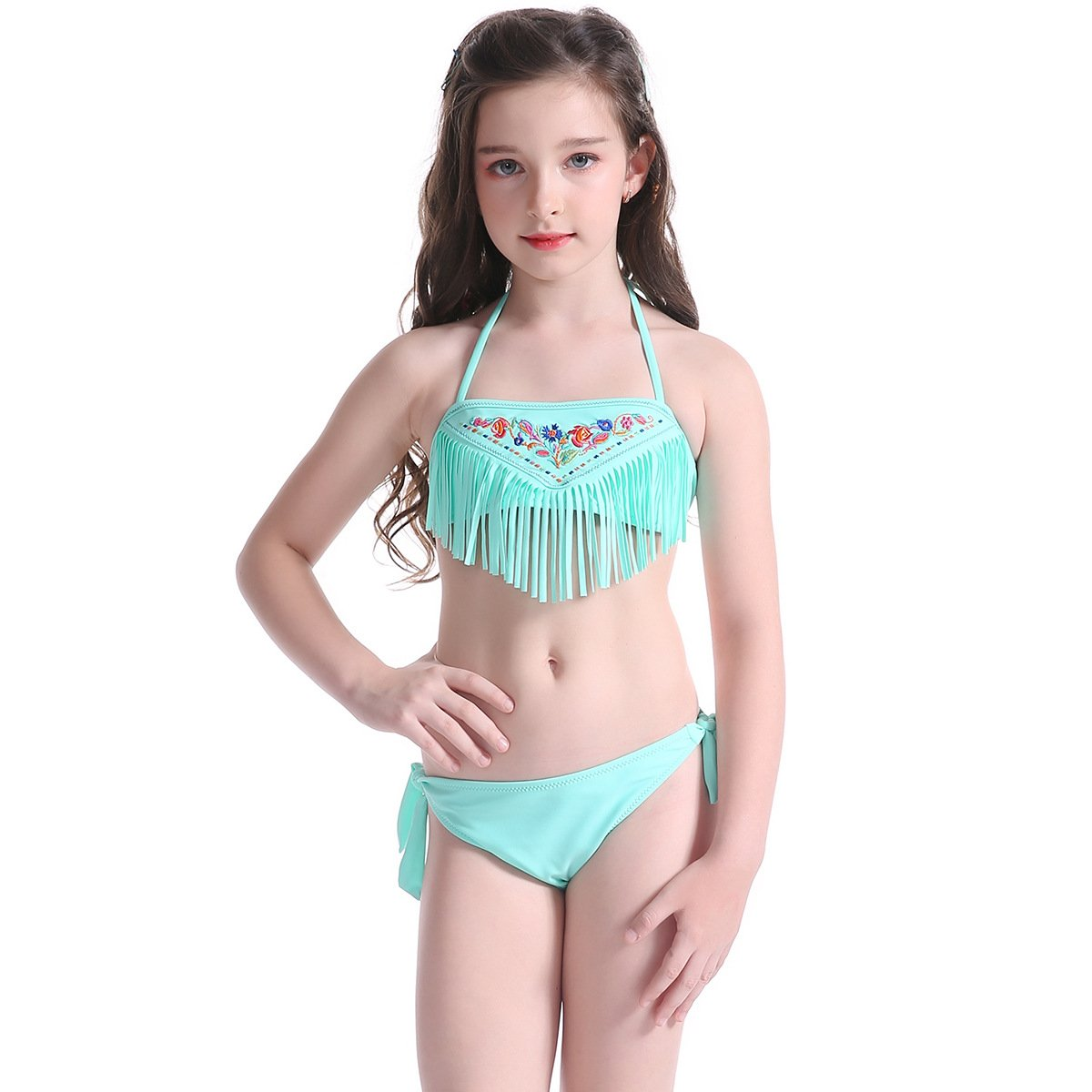 CHITONE Girl's Two Piece Swimsuit Summer Halter Bikini Swimwear Bathing Suit
