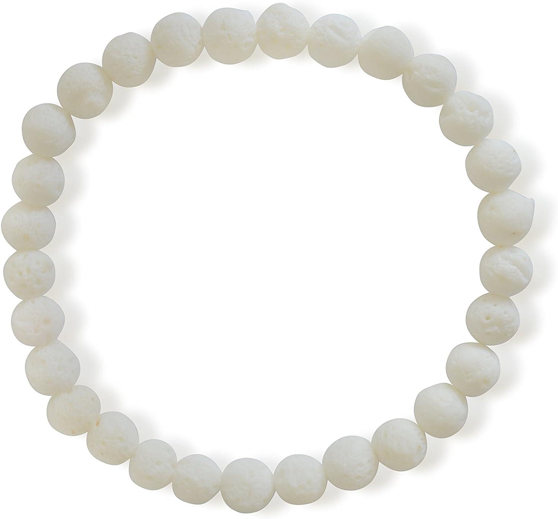 Coral pulsera, natural, blanco, 6mm