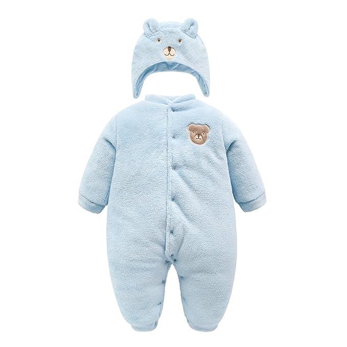 Vine Bebé Traje de Nieve Ropa de Invierno Mameluco con Sombrero Fleece Peleles Cálido Trajes, Azul 9-12 Meses: Amazon.es: Ropa y accesorios