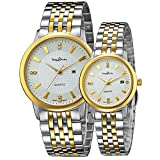 Couple Watch Japanese-Quartz Movement white-gold Stainless Steel Band with Original Brand Box