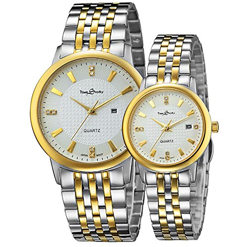 Couple Watch Japanese-Quartz Movement white-gold Stainless Steel Band with Original Brand Box by Time Story