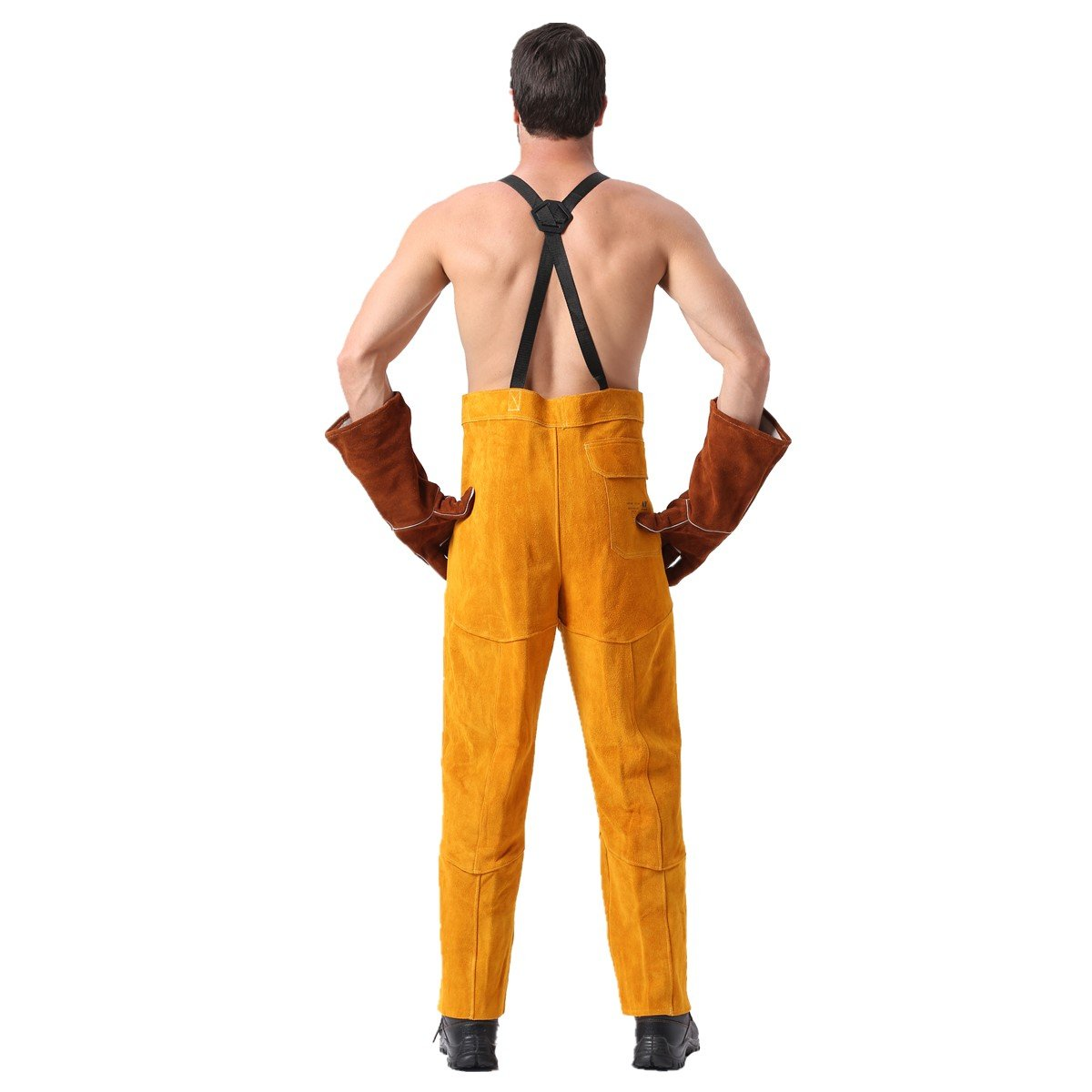 Leather Welding Pants Chaps Trousers Flame/Heat/Abrasion Resistant Cowhide Leather Worker Britches Romper for Welding Protection (XL) by Generic (Image #3)