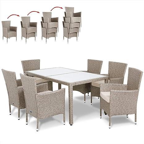 Deuba | Salon de Jardin en polyrotin Gris/Beige • 1 Table et 6 chaises avec  Coussins - chaises empilables, Plateau Verre | Résistant aux intempéries,  ...