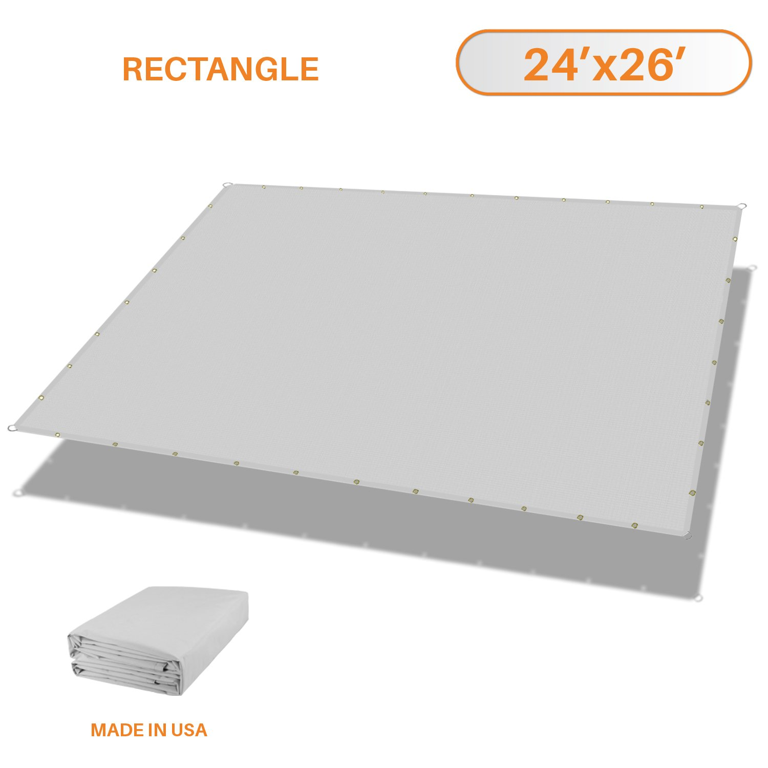 Sunshades Depot Tang 24' x 26' FT Waterproof Rectangle Sun Shade Sail 220 GSM Light Gray Straight Edge Canopy with Grommet UV Block Shade Fabric Pergola Cover Awning Customize Available
