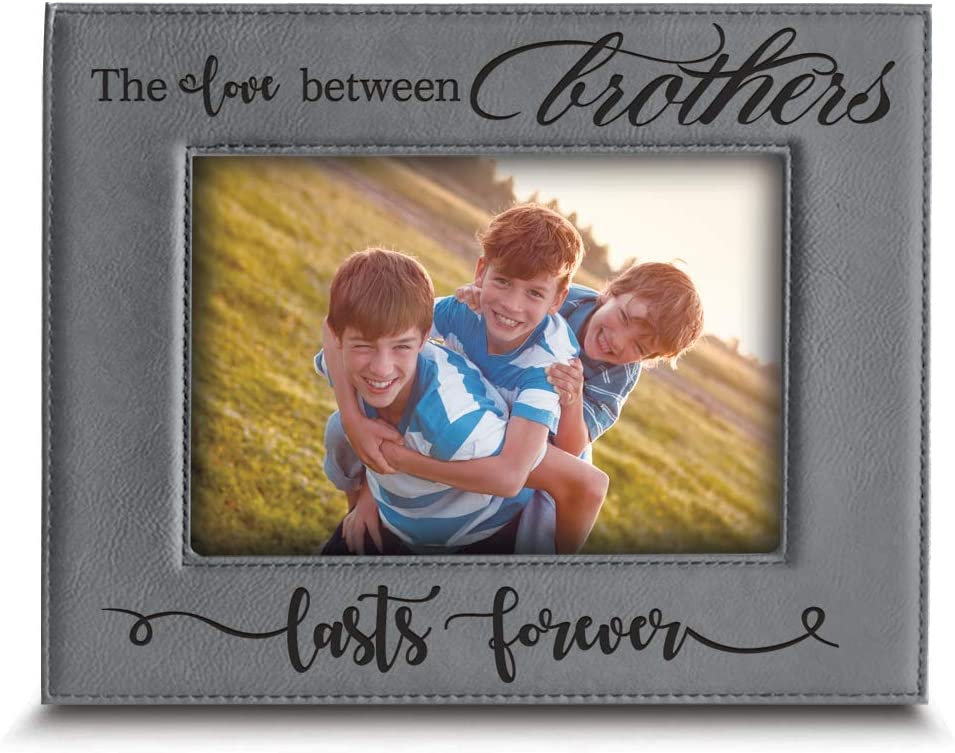 BELLA BUSTA The Love Between Brothers Lasts Forever_Wedding, Birthday, for Brothers -Engraved Leather Picture Frame (4 x 6 Horizontal)