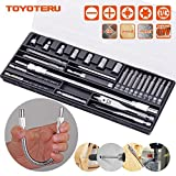 TOYOTERU Screwdriver Bit Set 27-piece Includes Drill Bits used for working with Steel, Wood & Tile, Flexible magnetic bit holder and 10 most common Screwdriver Bits and 1/4