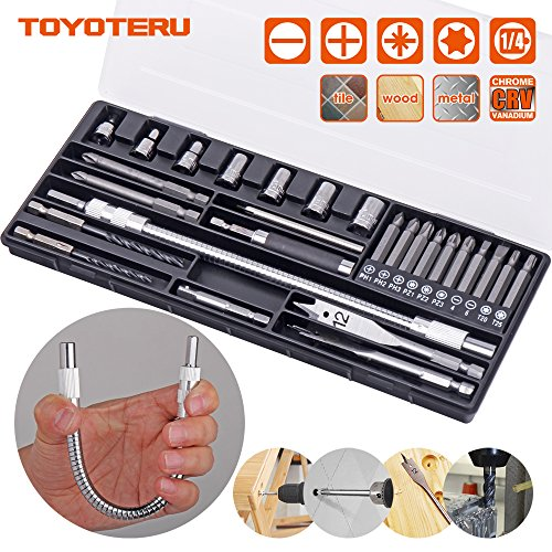 Steel Wood Drill Bit (TOYOTERU Screwdriver Bit Set 27-piece Includes Drill Bits used for working with Steel, Wood & Tile, Flexible magnetic bit holder and 10 most common Screwdriver Bits and 1/4
