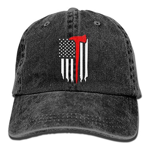SUJV-T9 Retro Denim Cap Hat Thin Red Line Flag Axe Plain Adjustable Sports Baseball Hat for Adults (Cena Di Halloween A Casa)