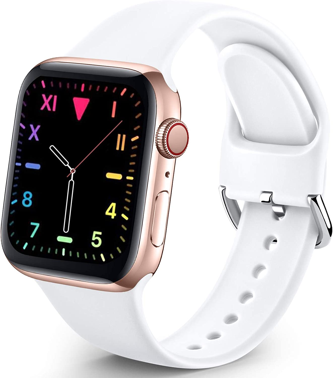 Sport Band Compatible with Apple Watch iWatch Bands 42mm 44mm for Women Men,Soft Silicone Strap Wristbands for Apple Watch Series 3 Series 6 Series 5 Series 4 Series 2 Series 1 Series SE,White