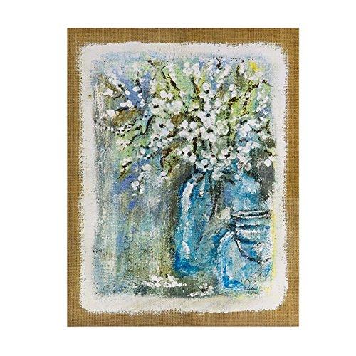 Blossoms Blue Flowers Floral Canvas Wall Art 22X28 2 Piece Multi Panel, Print Wall Décor ()