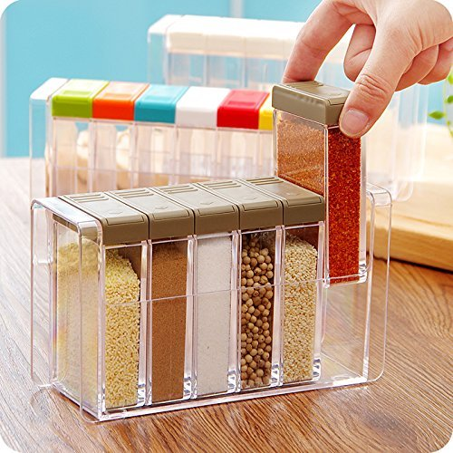Spice Storage Containers - YIXIN Set of 6 Spice Shaker Seasoning Bottle Jar Condiment Storage Container with Tray for Salt Sugar Cruet, Color Random Delivery