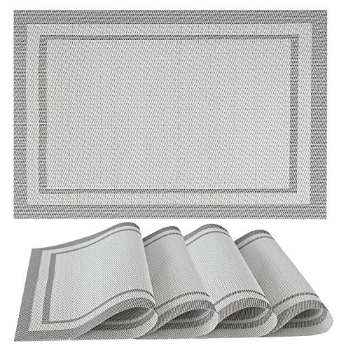 Placemats Set of 4| Vinyl PVC Placemat Table Mats | Non slip | Heat Resistant (White) - A STYLISH ELEMENT TO YOUR TABLE SPREAD: Our beautiful set of 4 placemats will jazz up your dining tables, we have a wide variety of multiple colours and designs to choose from which makes them the perfect decoration piece for Christmas parties and for your festive table. HIGH QUALITY MATERIALS: KeKe placemats will protect your table from stains and scratches; they can be rolled up or flatted easy. Our mats are made out of 70% PVC and 30% polyester which are environmentally friendly. Out table mats are very durable, non-slip, no fading and heat resistant. They are safe to use, simple and easy to keep clean. THE PERFECT SIZE FOR ALL TABLES: Each mat measures L46xW30cm, Suitable for entertaining, home parties, family gatherings, everyday dining, restaurants or coffee shops. Our placemats come as a pack of 4 weighing 0.4KG. Each mat approx 1 millimetres thickness; stack them together for easy and minimal storage space. - placemats, kitchen-dining-room-table-linens, kitchen-dining-room - 61VKnardF1L -
